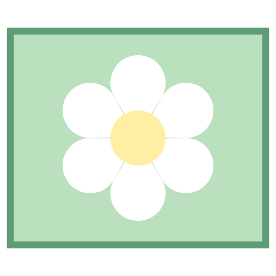 Large Icons icon. The Large Icon has a flower like shape with five rounded point.  In the center there is another 5 points drawn in somewhat lines from the center.  The flower shape is enclosed in a square or a box.