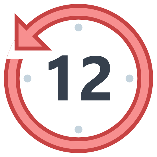 """Ostatnie 12 godzin icon. It's the image of a clock face with the number """"12"""" written in the center. Around the clock face are the dots where the numbers of a clock would go. The circle that encloses the clock face is actually a circular arrow drawn around the clock. The arrow is pointing counter clockwise to indicate time going backwards twelve hours."""