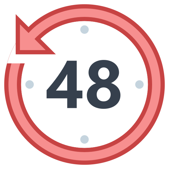 Time Limit icon. There is a circle. In the circle, there are dots. The dots surround the inside of the circle. There is the number 48 in the center of the circle. In the top left of the circle, there is an arrow pointed left and down.
