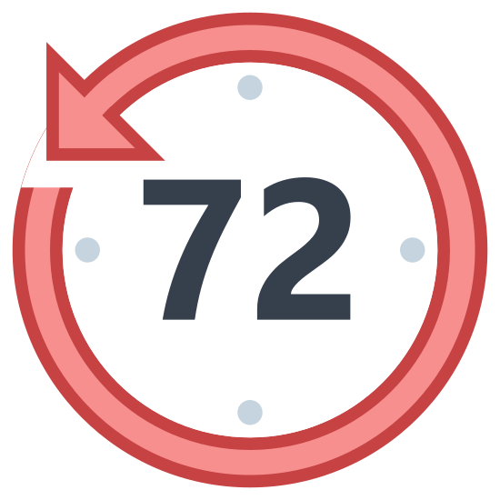 Ostatnich 72 godzin icon. The image is of a clock face. The image is a circle with dots along the inside of the circle's edge. The numbers seven and two are in the center of the circle. The outer edge of the circle forms an arrow that is pointing counter clockwise.
