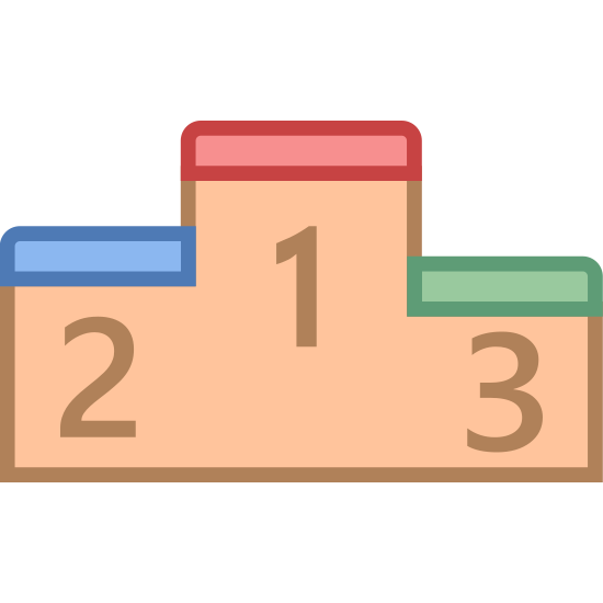 Classifica icon. The image is a single block with an abnormal shape. The bottom is flat but the top has three different heights. Under the varying heights are numbers. Number 1 is highest. Number 2 is a little lower and number 3 is the lowest.