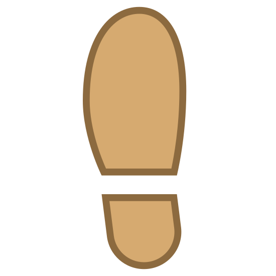 Lewy but icon. This is a shoe print icon. The shoe is curved on the right side suggesting that it is the left shoe. There are two portions to this icon, the top is a large half circle with a small curved line at the bottom and the bottom is a smaller half circle, facing the opposite direction, with a curved line on top.