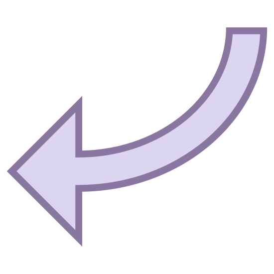 W lewo 3 icon. This particular icon features an outlined shape that resembles an arrow.  It is pointing to the left.  The back end of the arrow shape is curved upright and tapers off to a point.