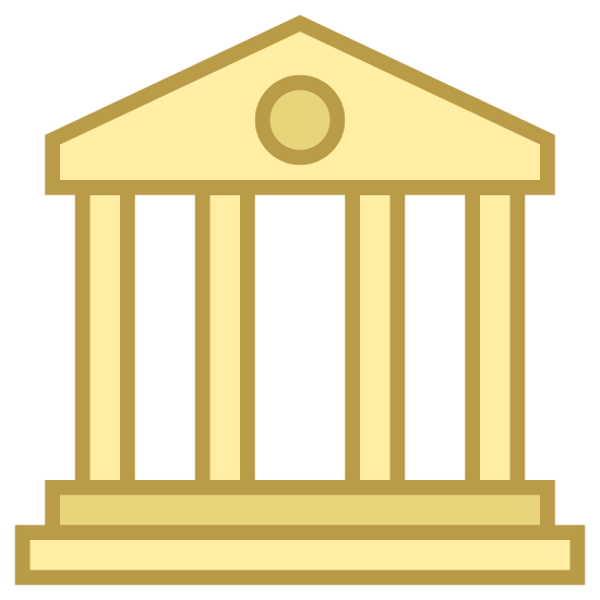 Biblioteca icon. This is a black and white outline of the front of a Library. There is a triangle roof, a circle in the center of the roof, and four pillars.