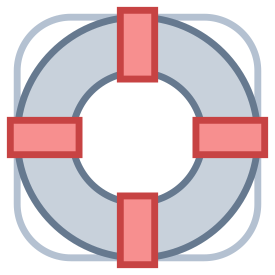 Koło ratunkowe icon. The Icon for Lifebuoy is a round circular ring. There are four rectangular pieces on top of the ring, evenly spaced at the top and bottom and left and right. The ring is on top of an object with rounded corners that make half circles between each rectangular piece.