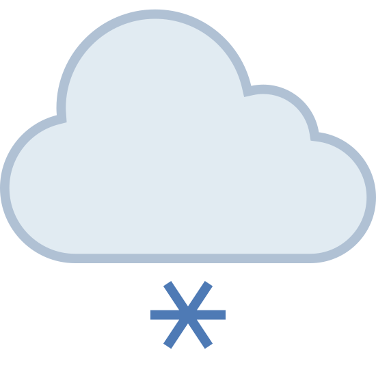 Light Snow icon. This is a image of a cloud shaped figure with three circular puffs on top, and a flat base below.  Below the cloud are three plus shaped figures representing snow.