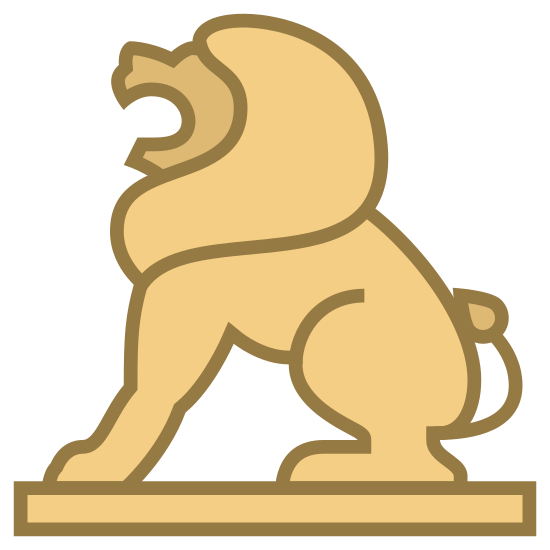 Lion Statue icon. The image is a drawing of a lion from the side with its mouth open and facing towards the left. The lion is sitting on a very slim looking rectangular shape that looks like a platform for it.