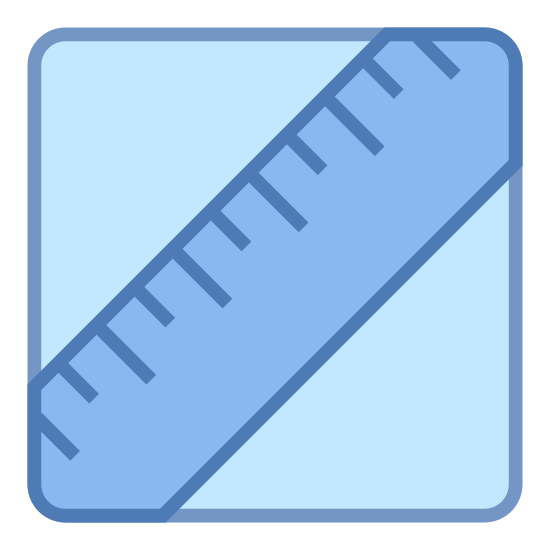 Lipidi icon. This icon is depicting a ruler tilted diagonally and towards the right enclosed within a rectangle with rounded edges. The ruler is depicted as two parallel lines with seven lines segmenting it to indicate units of measurement.