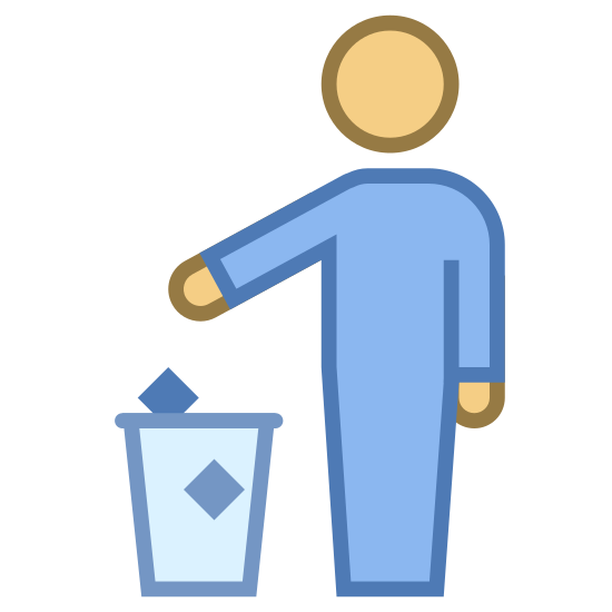 Disposal icon. It's an image of a person with one arm held over a U-shaped object, that signifies a trash bin. There are two small squares that are being dropped into the bin by the person, to show that he is throwing away litter.