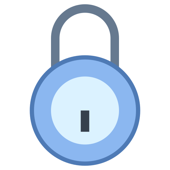 Lock icon. The image is the basic rounded outline of a padlock.  The padlock has a U-shaped part sticking out the top where you would loop it through the thing your are locking.  Currently it is in the locked position.  In the middle of the main, round, body of the lock is a keyhole where the pins of the key would go in pointing down.