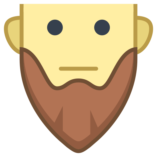 Beard icon. This is a picture of a man with a long beard. The man has no nose. The beard is in an egg-like shape with two cuts at the bottom that form little triangles.