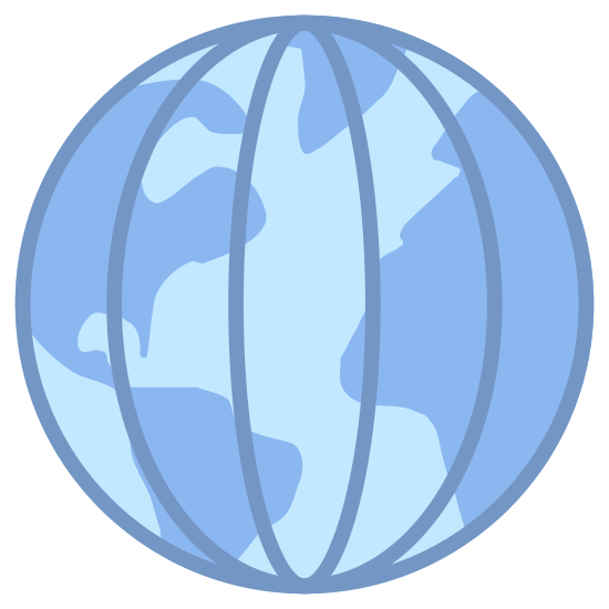 Długość geograficzna icon. The image is of a globe with lines on it. There are five lines on the inside of the globe but they are not straight lines. The only straight line is the one down the center. The other lines curve with the outside of the circle. All of the lines are vertical.