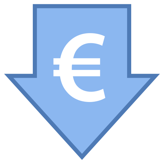 """Niska cena Euro icon. This icon has the outline of an arrow pointing downwards. Inside of the arrow is the symbol for the Euro currency. It is the letter """"C"""" with two horizontal lines drawn through the middle of it."""