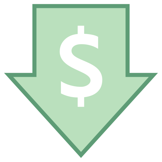 Niska cena icon. Its a logo with a dollar sign right in the in the center of it.  Around the dollar sign is an arrow that is pointed in the downward direction.  Essentially, its a logo of a down arrow with a dollar sign in the middle.