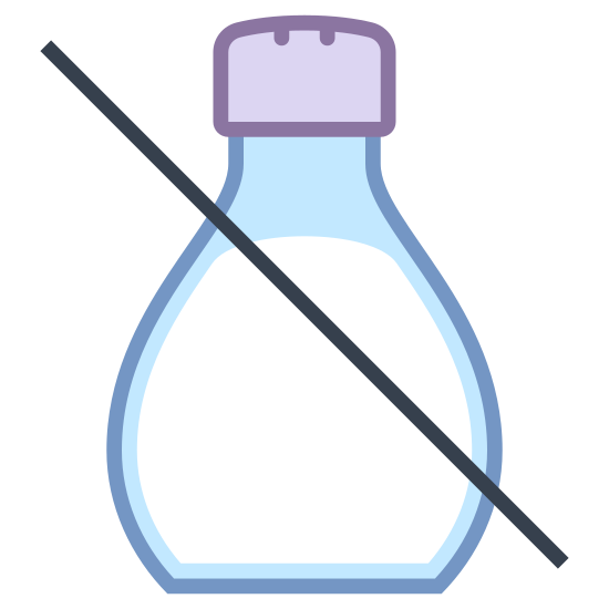 Niska zawartość soli icon. A small, rounded salt shaker with a large S on front.  There's a line cutting it diagonally from the upper-left downwards.