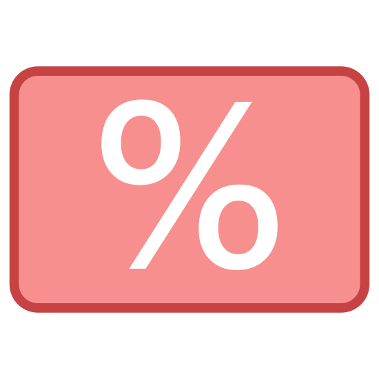 Karta stałego Klienta icon. This is a picture of a rectangular shaped box with rounded corners. in the center of the box is the percent sign. it's trying to represent some type of card.