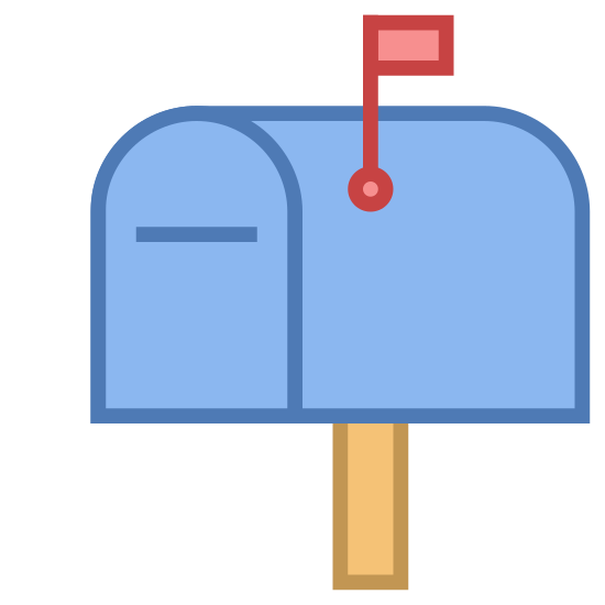 Letterbox icon. A mailbox with a horizontal slit on the door and a handle on one of the sides. The handle is raised high. The front profile of the box is rectangular down below and rounded up top, like a house door. From the side, it has a rectangular profile. The entire box is on top of a slim post.