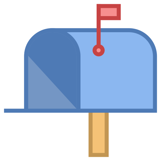 Mailbox Opened Flag Up icon. This is a picture of a mailbox. it's attached to a pole. it's front door is open wide and you can see inside it. it has a flag and it is sticking straight up.