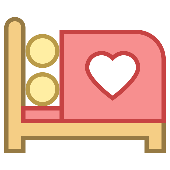 Kochać się icon. The icon is of two people having relations in a bed. The bed is shown in an angled, top down view and there are two heads coming out from under a bedsheet. There is a heart on the bedsheet and two hearts floating in the air.