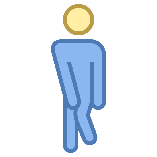 Mężczyzna chce siku icon. There is a circle as a mans head. the head is detached from the body. the arms are touching the crotch area of the mans body. one of the legs knees is up
