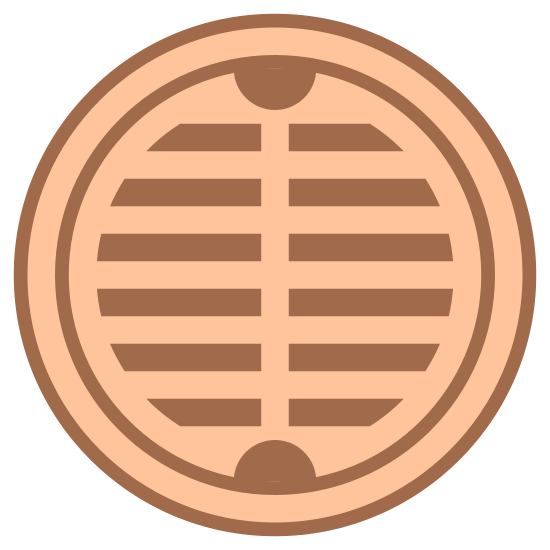 Pokrywa włazu icon. This icon is depicting a manhole or sewer cover. The object is round in shape with two rows of vertical lines inscribed in the center as if to indicate this is an open grate.