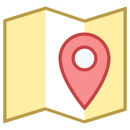 Pinezka na mapie icon. It's a logo that represents a map marker.  In the middle of the logo is a upside down teardrop with a circle in the middle of it.  The teardrop is point to an exact location on a map.  The logo also has an open road map that is a trifold.