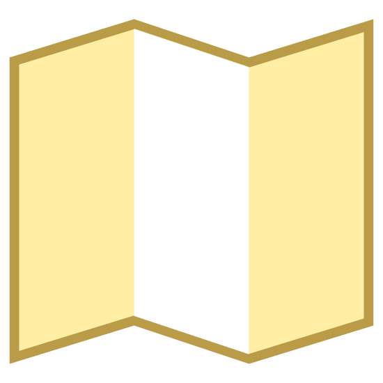 Map icon. This is a picture of a folded paper that is taller than normal. It is folded four separate times, and is sitting like a standing wall separator. There is no writing on the paper or any pictures either.
