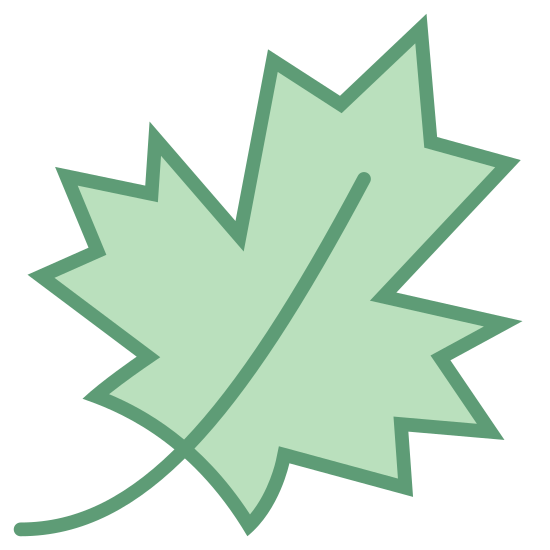Liść klonu icon. The maple leaf, a sure sign of Canadians. A typical leaf with a blocky cross shape, and jagged edges on each of the points of the cross. Two smaller points lead downward below the cross shape.