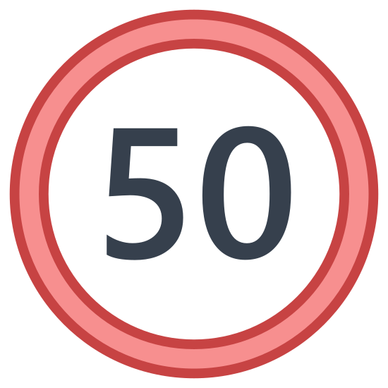 """Maximum Speed icon. It's a logo of a big circle. It's a very simple logo and the only thing that is inside that circle is the number fifty written """"50"""". The lines are thin and it represents a maximum speed."""