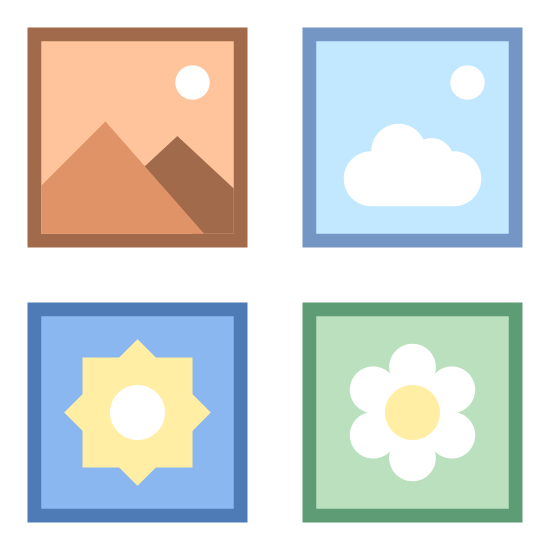中アイコン icon. There is a square divided into four smaller squares inside. In the top left square is a zig zag line with a dot above. In the top right square is an icon of a sun. In the bottom left corner is a rounded leaf. In the bottom right corner is a cloud shape with a dot above.