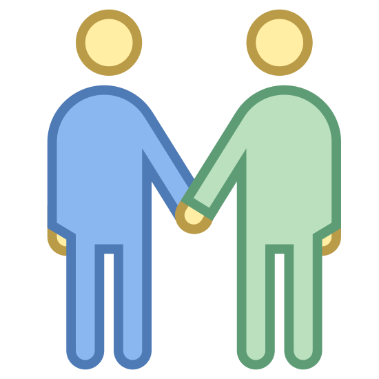 Spotkanie icon. It's a logo for depicting a meeting between two people. There are two cartoon people shaking hands. Their heads are circles that are slightly hovering over their bodies.