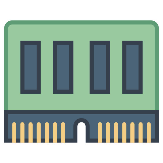 Memory Slot icon. This icon represents a memory slot. It is a long rectangle with four smaller rectangles inside it. On the right hand side is a slimmer, smaller rectangle that has a notch cut out in the middle and has eight lines.