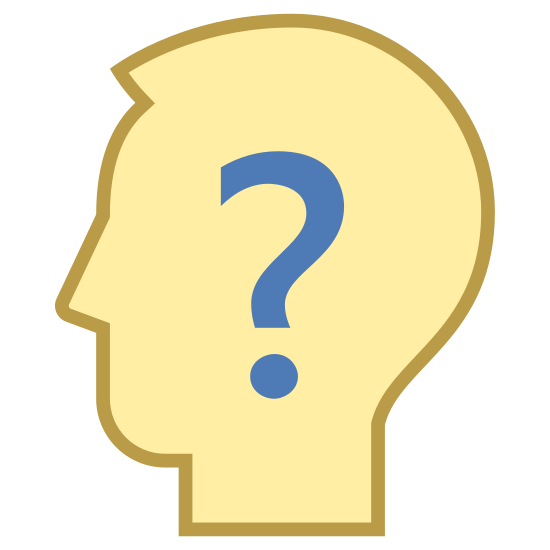Confusion icon. The image is a person's bald head. The person is facing the right and doesn't have a mouth or eyes. The person also doesn't have ears but there is a question mark on the person's head where the ear would be.