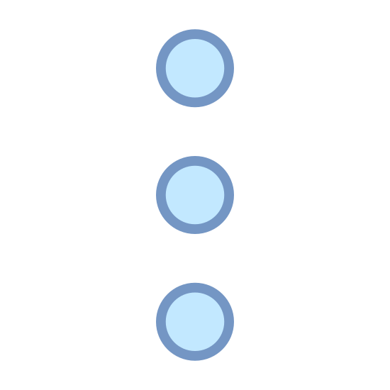 Menu Vertical icon. This is a picture of three circles stacked on top of each other. they are going in a vertical direction. they seem to be shaped like a traffic light almost.