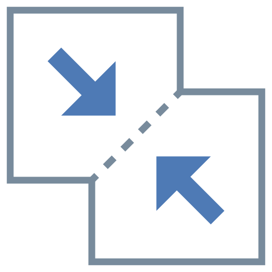 Combinar archivos icon. The logo displays two squares joined at a corners. The top square has an arrow pointing down and skewed to the right, pointing at the bottom square. The bottom square has an arrow pointing up and skewed to the left, pointing at the top square. The points in which they're joined have a dashed line, indicating they are merging together.