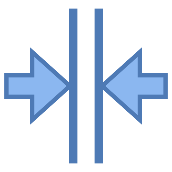 Scal w pionie icon. A logo that is for driving indicating merging lanes. Two vertical parallel lines with a right and left arrows points towards the side of each of the vertical lines.