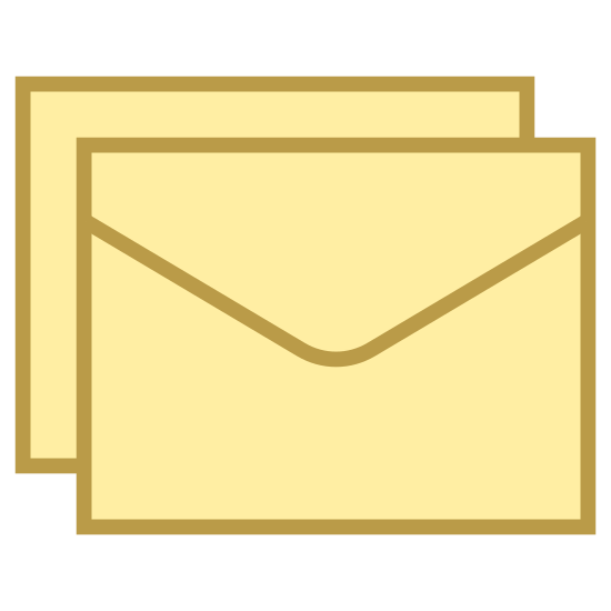 Gruppennachricht icon. The icon is a picture of group message. The icon is the shape of two rectangles. The rectangle in front of the other one looks like an envelope. The envelope looking rectangle is slightly lower and to the right of the rectangle behind it.