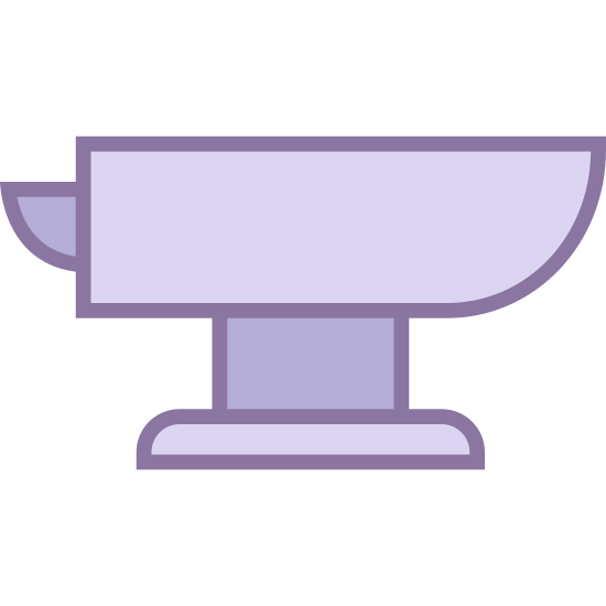 Metal icon. The icon is an anvil. The anvil has a metal base at the bottom with two feet. The top of the anvil is flat with a curved bottom, and there's another part sticking out from the side with a pointed end and a curved bottom.