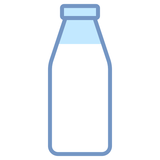 Milk Bottle icon. This icon looks just like an old style glass milk bottle. The base is made of a rectangle with rounded corners that tapers to a narrow neck. On top of the neck are two circles meant to represent the mouth of the bottle.