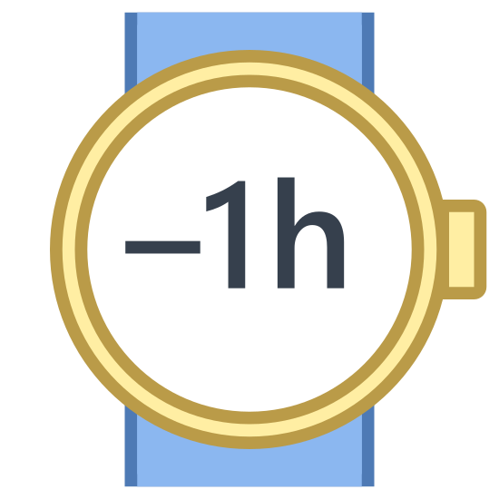 Minus 1 Hour icon. The icon is Minus 1 hour. A -1h is enclosed in a circle. The circle has a small rectangle attached to its right side. This circle is atop two parallel lines. The design looks much like a wristwatch.