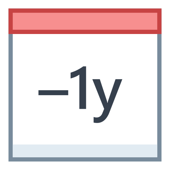 Minus 1 Rok icon. A page from a calendar with two tabs on the top edge. The page contains a minus sign, followed the number 1 and then by the lowercase letter y..
