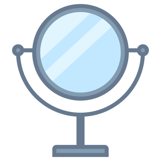 Mirror icon. This icon is depicting a bathroom mirror on a stand. The base of the object is flat with two arms extending halfway over the main feature which is completely circular and symmetrical.