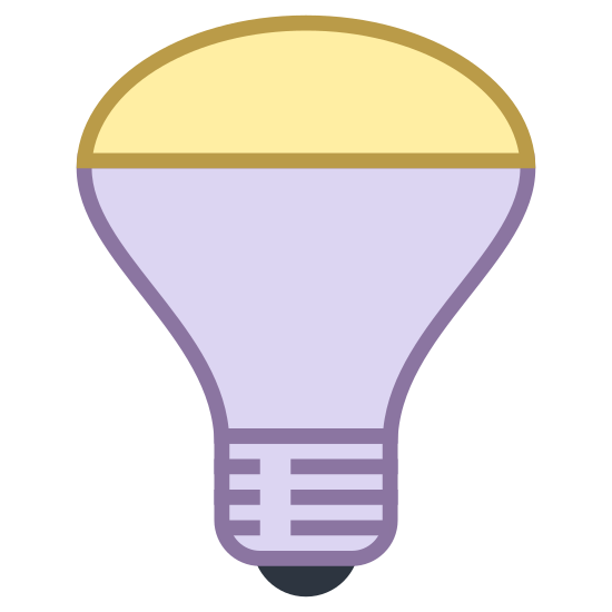 Gespiegelte Reflektorlampe icon. It's the image of a modern looking light bulb.  The bulb is shaped like a cone, with a domed lens covering the top of the cone.  It looks like a high powered light bulb meant to direct a beam of light.