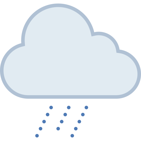 Lluvia moderada icon. This icon is showing weather that is moderate rain. It has a picture of a cloud with three humps, and then under the cloud it shows three dashed lines falling from the cloud denoting a good amount of rain.