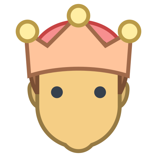 Moderator icon. The icon consists of the portrait outline of a male humanoid with diminished facial features. The portrait is wearing a three-pointed crown. The icon represents a male user who possesses moderator authentication, allowing them to moderate chat or groups.