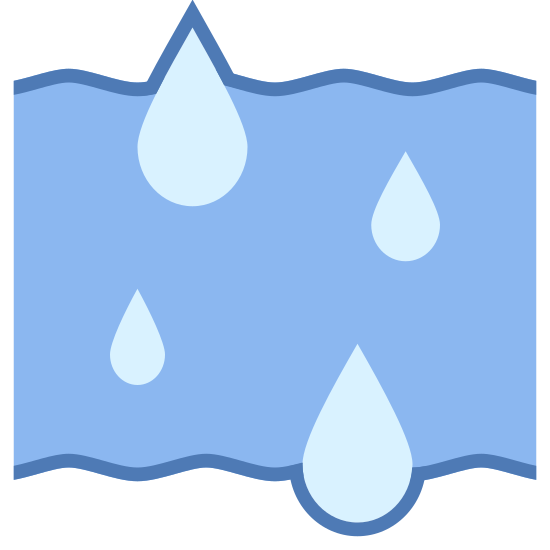 湿度 icon. The icon is a series of three peaked waves, arranged to be parallel to each other, with two large water drops on top of the top and bottom peaked waves. Each wave has four peaks. The icon is representative of liquid moisture being present.