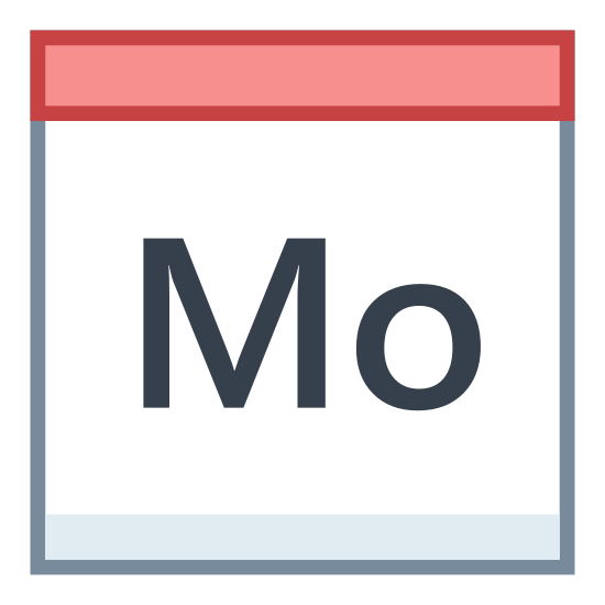 Monday icon. A square with the Capital letter M lower case O inside of it. On top of the square is a smashed rectangle that has 2 vertical tiny rectangle coming out of the top. Similar to what a desk flip calendar would be