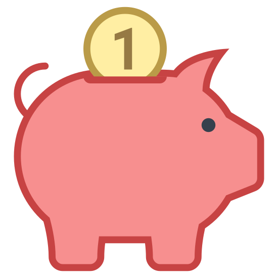 Salvadanaio icon. The money box, a euphemism for piggy bank. A cute little pig, probably full of children's change, viewed from the side. The only remarkable thing about it is the handle for weight on the pig's back.