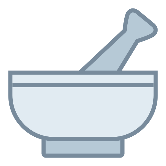 Mortar and Pestle icon. The icon is the shape of a common bowl. Place inside the bowl is a shape that resembles the handle of some sort of cooling utensil. Only the handle is visible.