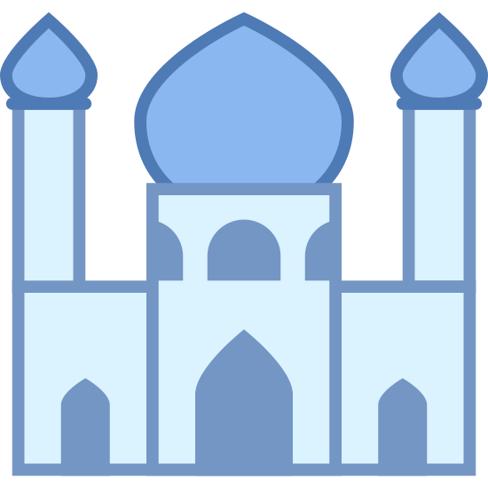 Mosque icon. This logo is of a mosque and has two towers surrounding a dome-shaped building in the center. The towers have two little circles near the top and there is an open doorway in the center building.